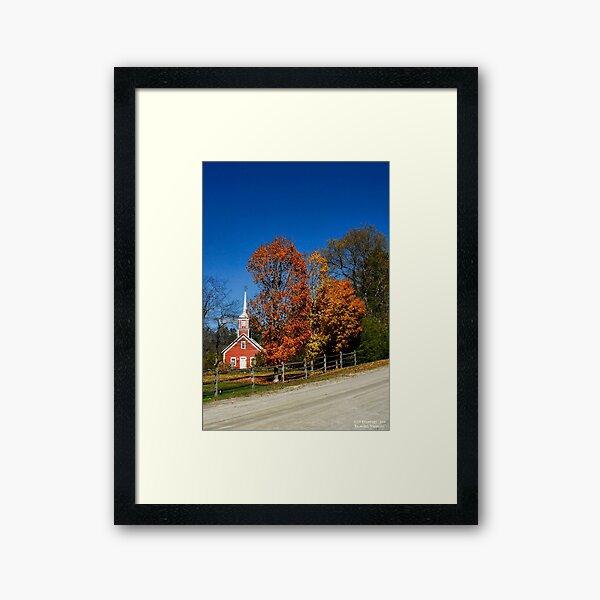 Little Red Church in Fall Framed Art Print