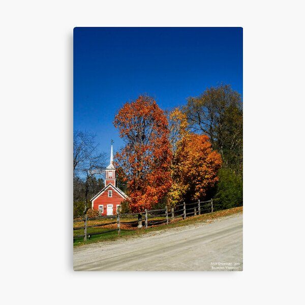 Little Red Church in Fall Canvas Print