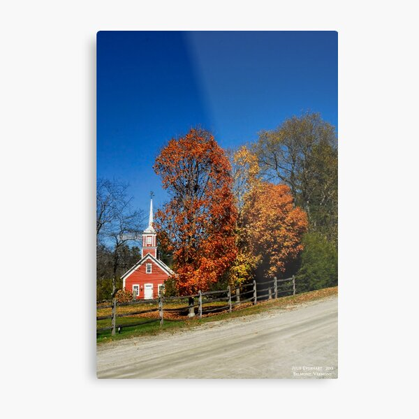 Little Red Church in Fall Metal Print