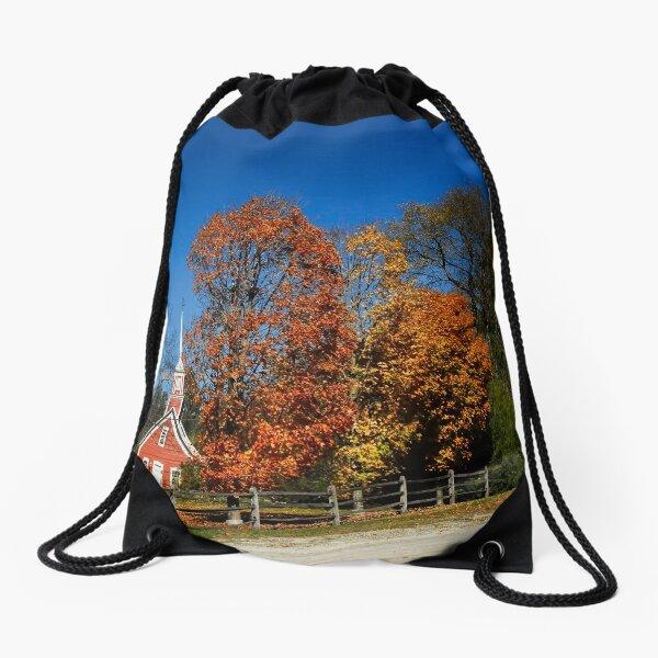 Little Red Church in Fall Drawstring Bag