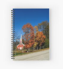 Little Red Church in Fall Spiral Notebook