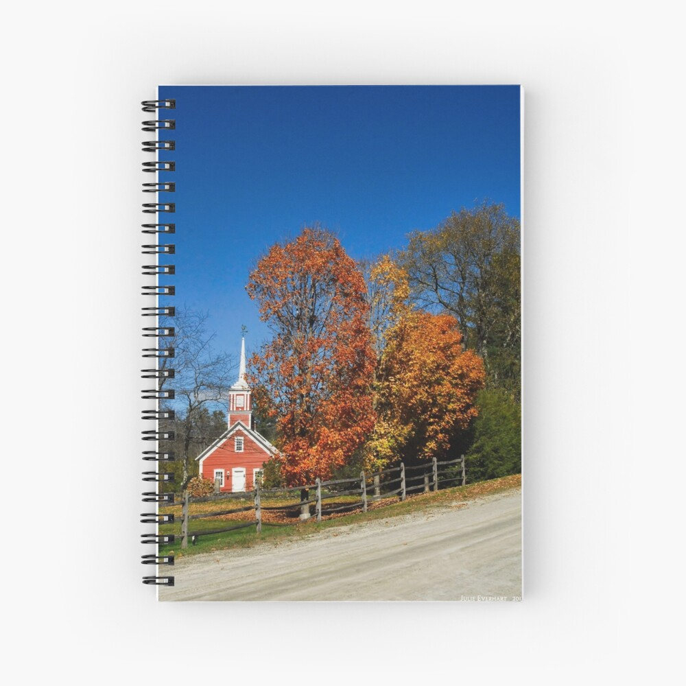 Little Red Church in Fall Spiral Notebook