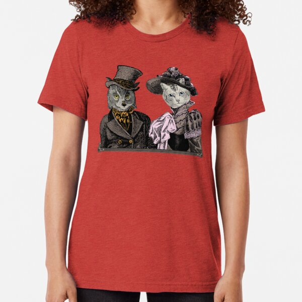The Owl and the Pussycat | Anthropomorphic | Vintage Owls | Vintage Cats |  Tri-blend T-Shirt