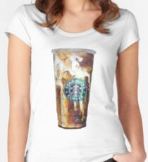 Iced coffee photo print Women's Fitted Scoop T-Shirt