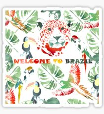 Watercolor  pattern.Welcome to Brazil. Sticker