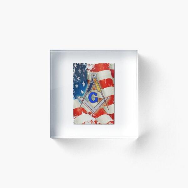 Patriotic Mason Acrylic Block