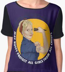 Buffy, the riveter. MAY BUFFY PROTECT YOU Women's Chiffon Top