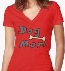 Dog mom Women's Fitted V-Neck T-Shirt