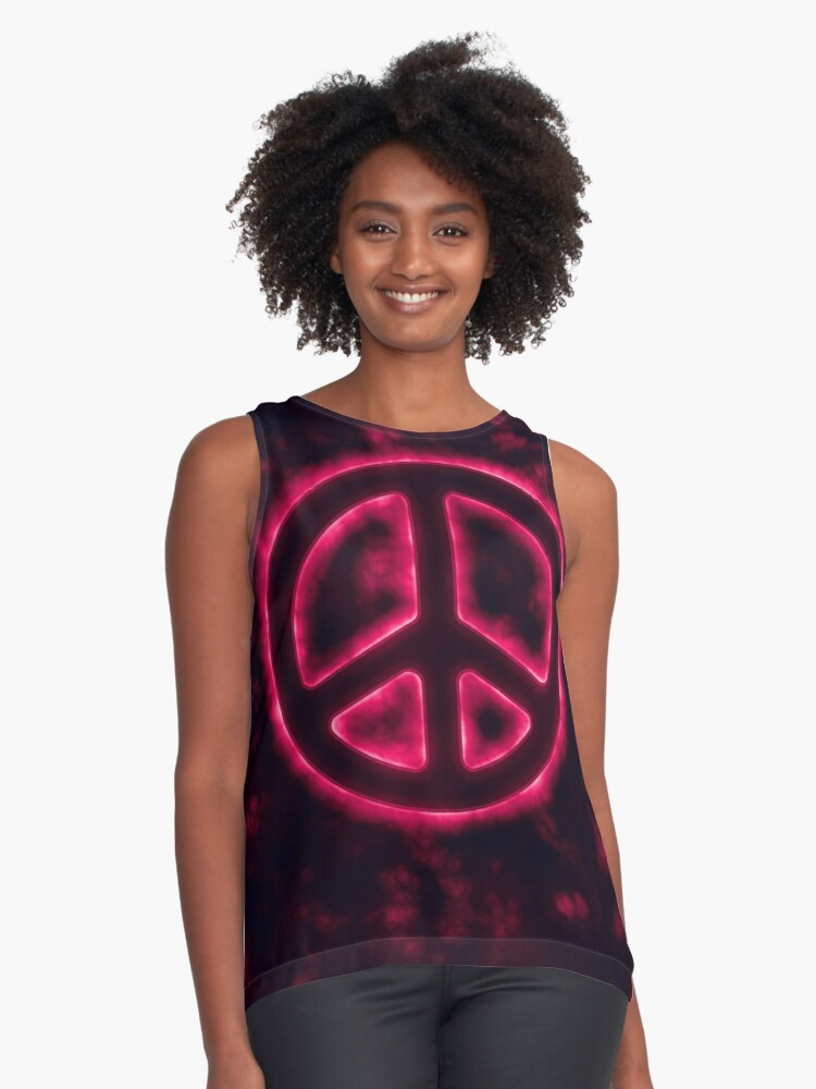 Red Peace Sign Contrast Tank Front