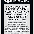 SCP Area Under Observation Sign by ToadKingStudios