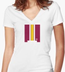 Washington Helmet Stripe Women's Fitted V-Neck T-Shirt