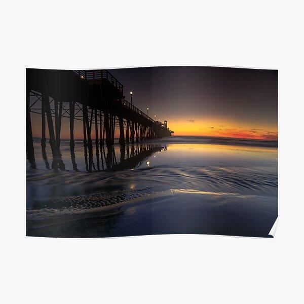 Oceanside Pier Sunset Low Tide Poster