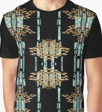 Metallic Blue & Gold Pattern Graphic T-Shirt
