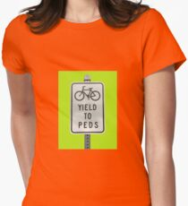 Yield To Pedestrians Womens Fitted T-Shirt