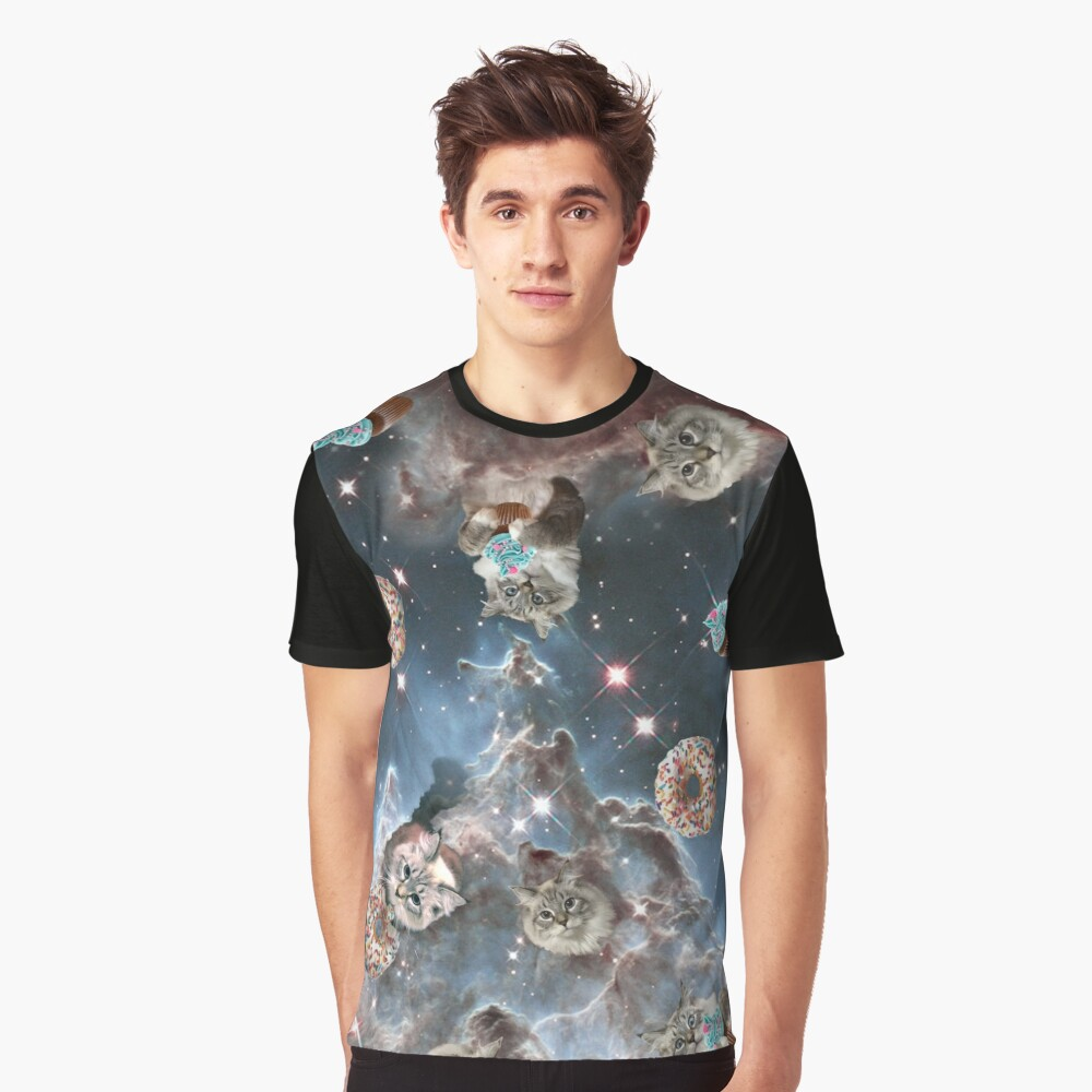 Cupcake Donut Space Cat Graphic T-Shirt
