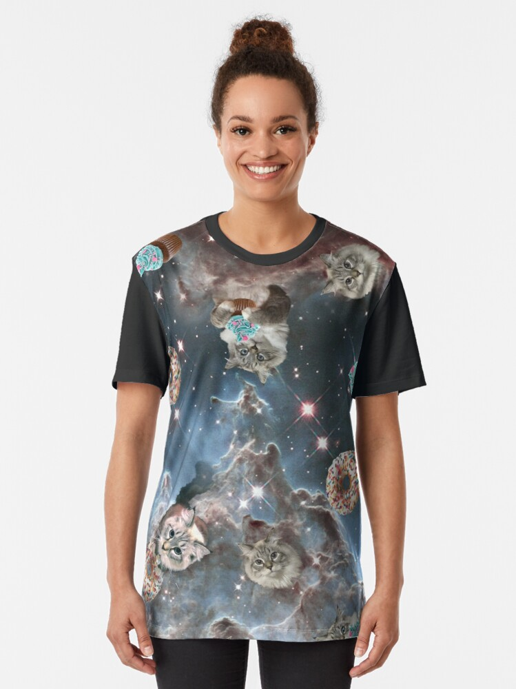 Alternate view of Cupcake Donut Space Cat Graphic T-Shirt