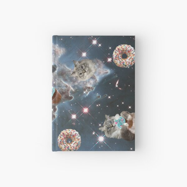 Cupcake Donut Space Cat Hardcover Journal