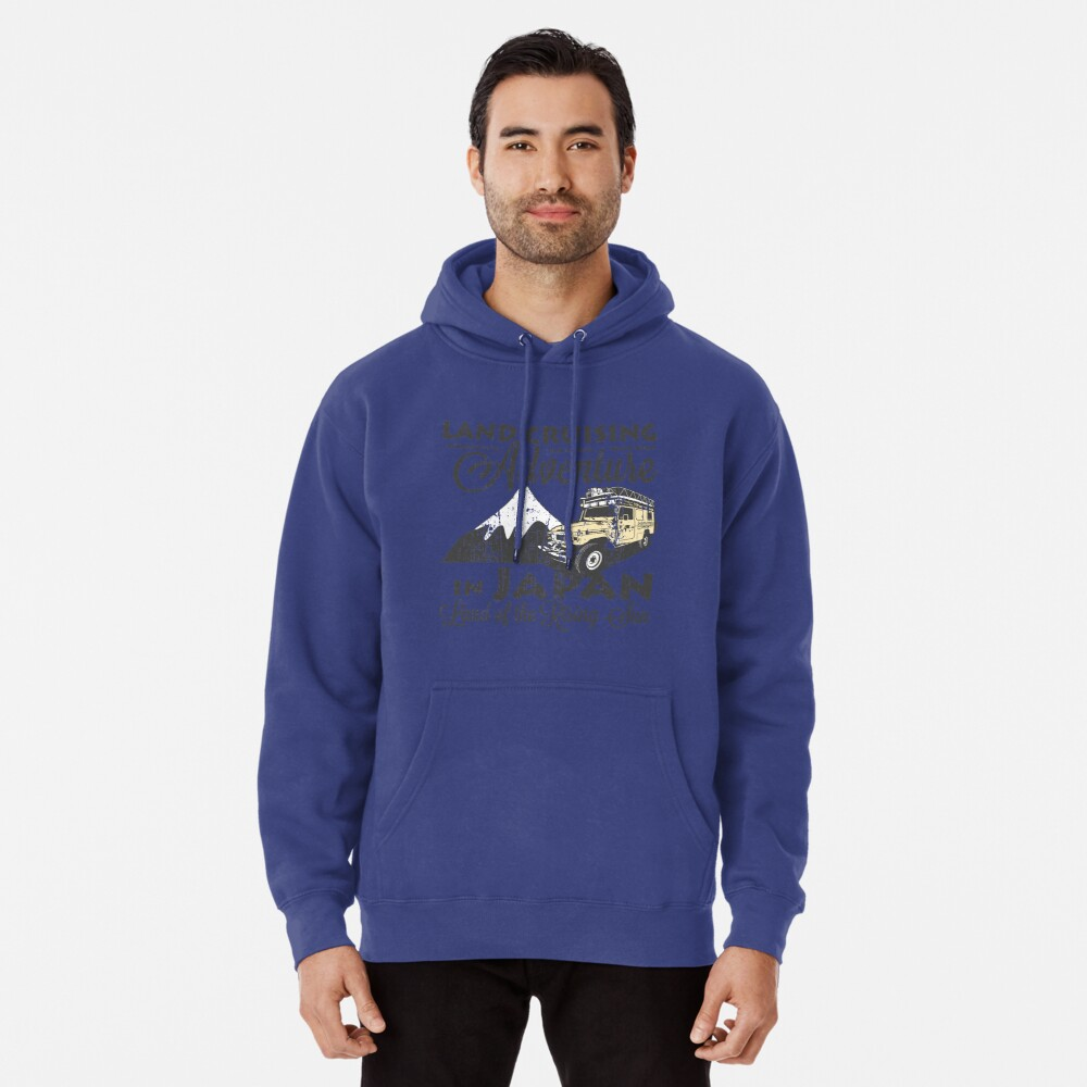 Landcruising Adventure in Japan - Curly font edition Pullover Hoodie