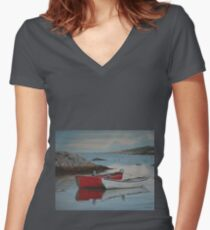 Boats at Peggys Cove  Women's Fitted V-Neck T-Shirt
