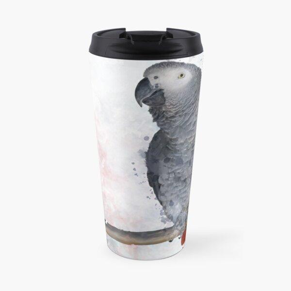 African Grey Watercolor Travel Mug