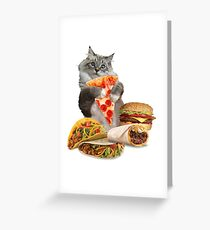 Pizza Taco Burger Cat Greeting Card