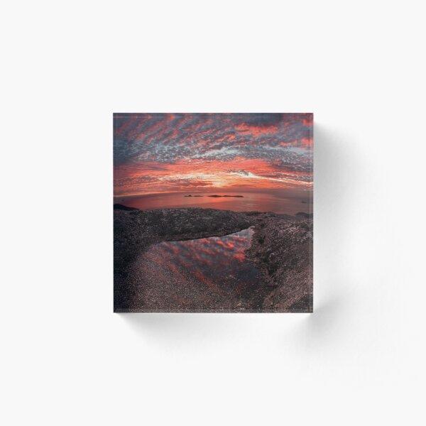 Mt Oberon sunset Acrylic Block