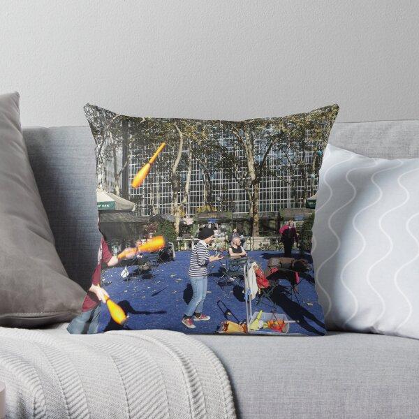 Bryant Park Juggling, Bryant Park, New York City Throw Pillow