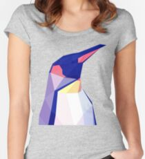Low Poly Penguin Portrait Women's Fitted Scoop T-Shirt