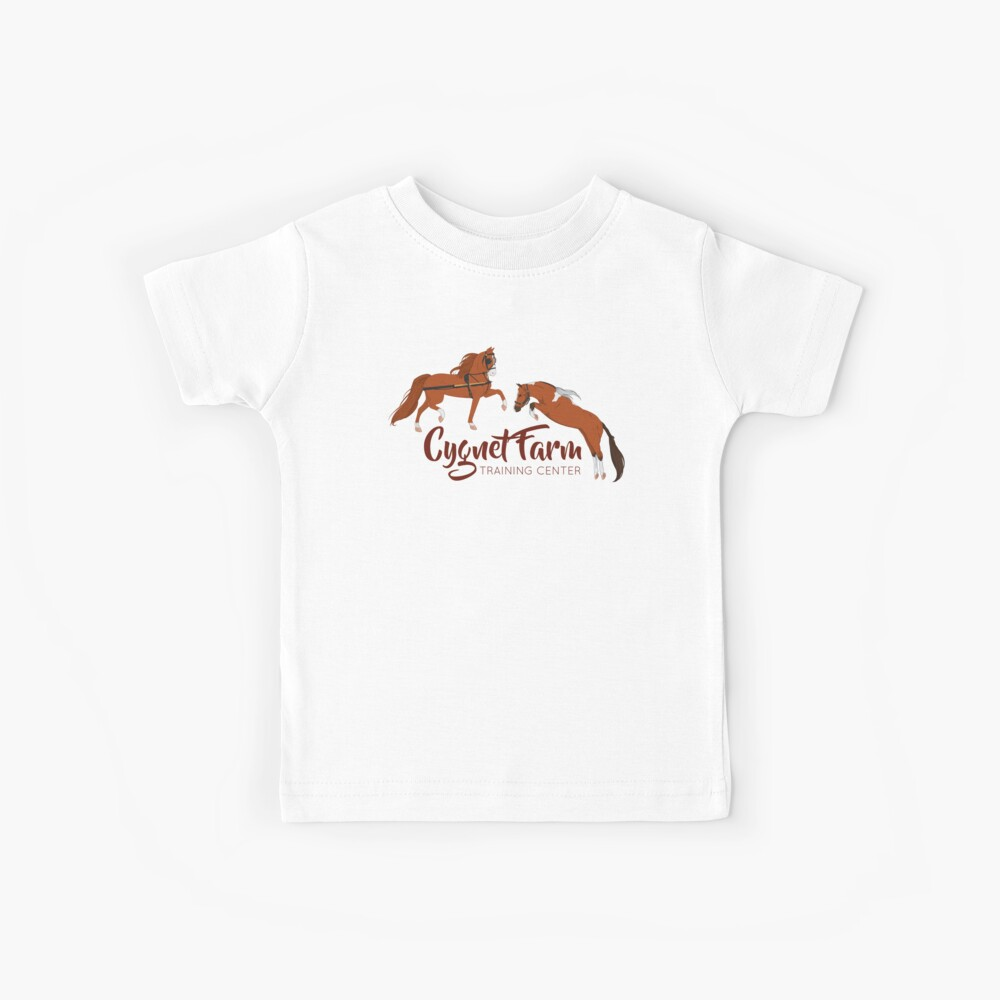 Cynet Farm Training Center - Silver Background / mini horse training driving jumping Kinder T-Shirt