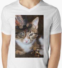 Steampunk Funny Cute Cat Men's V-Neck T-Shirt