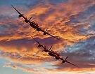 Out Of The Sunset - The 2 Lancasters by Colin  Williams Photography