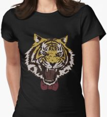 Bow Tie Tiger Womens Fitted T-Shirt