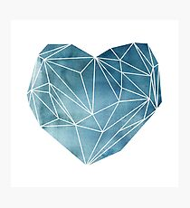 Heart Graphic Watercolor Blue Photographic Print