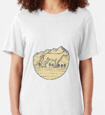 Camiseta ajustada Cougar Mountain Lion Tree Mono Line