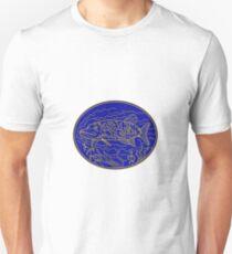 Northern Pike Fisch Oval Mono Linie Unisex T-Shirt