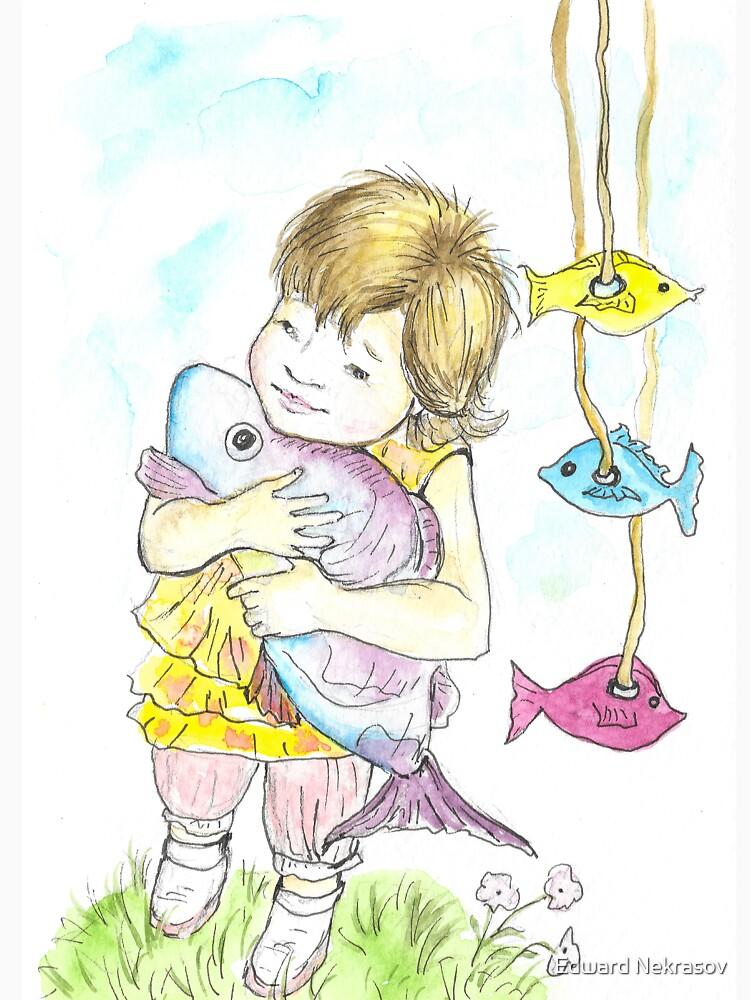 Girl with a toy-fish by Sadykova