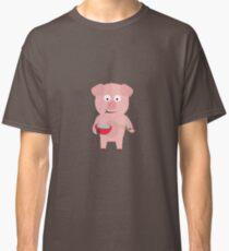 Kawaii Pig eating rice Classic T-Shirt