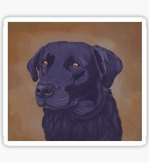 Black labrador retriever on ochre background. Sticker
