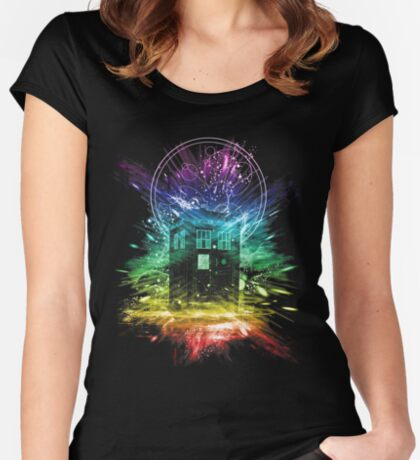 time storm-rainbow version Women's Fitted Scoop T-Shirt
