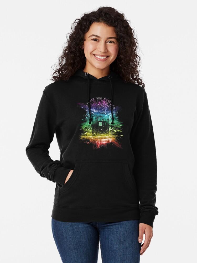 Alternate view of time storm-rainbow version Lightweight Hoodie