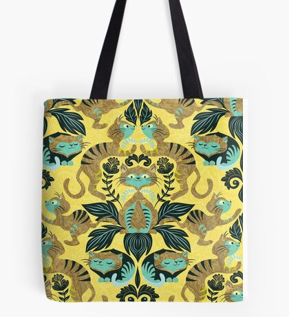 yellow damask cats Tote Bag
