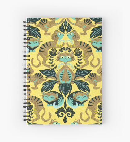 yellow damask cats Spiral Notebook