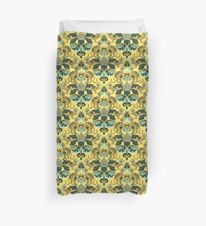 yellow damask cats Duvet Cover