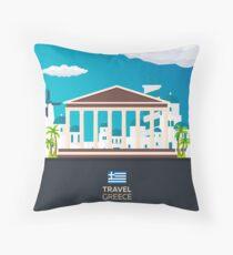 Travel to Greece skyline Throw Pillow