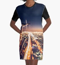 miami night view from helicopter Graphic T-Shirt Dress