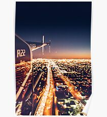 miami night view from helicopter Poster