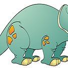 Aqua Triceratops Cartoon by Graphxpro