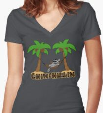 Chinchillin Women's Fitted V-Neck T-Shirt