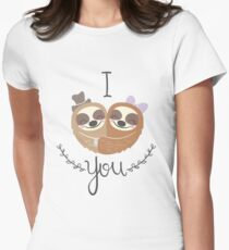 Cute Valentine Sloths Love Hat and Bow T-Shirt