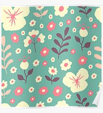 Flower spring cute pattern Poster
